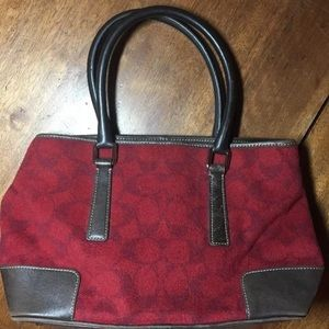 Coach Bags - Rare Coach red wool w/ brown leather trim purse